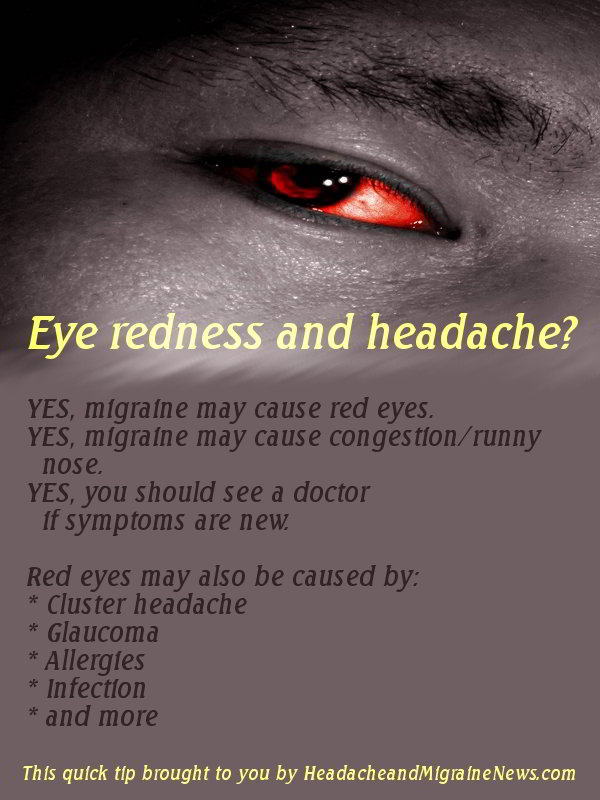 Eye redness and headache - quick tip