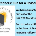 Coming Up:  NYC Marathon and the Migraine Research Foundation