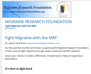 FirstGiving Migraine Research Foundation Page